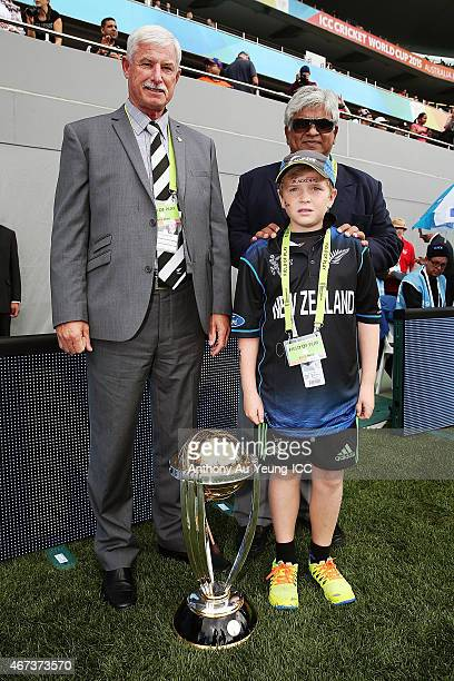 Sir Richard Hadlee former Sri Lankan international cricketer Arjuna Ranatunga with Jock Davies during the 2015 Cricket World Cup Semi Final match...