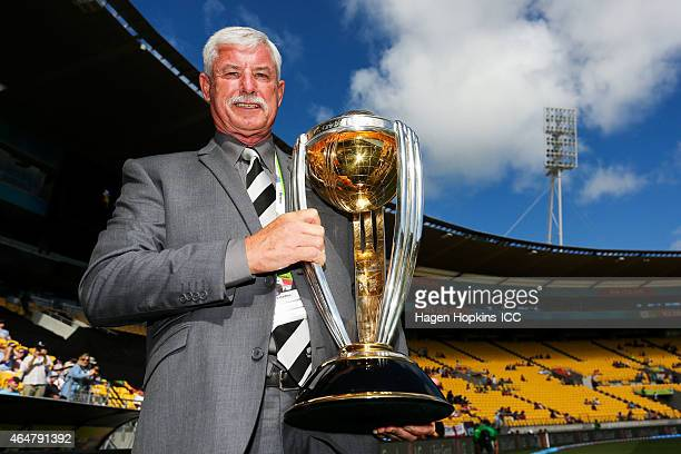 Sir Richard Hadlee holds the ICC Cricket World Cup during the 2015 ICC Cricket World Cup match between England and Sri Lanka at Wellington Regional...