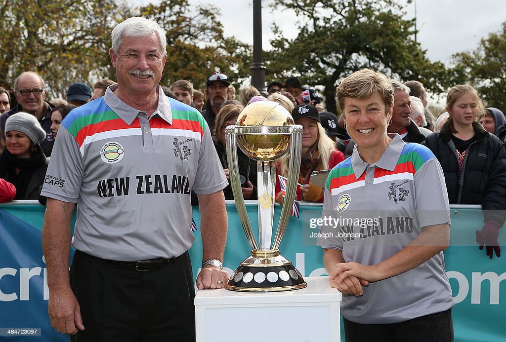 Sir Richard Hadlee, ICC Cricket World Cup 2015 Ambassador and Debbie Hockley, ICC Hall of Fame pose for a photo with the cricket World Cup Trophy during the countdown to the 2015 ICC Cricket World Cup at Latimer Square on April 14, 2014 in Christchurch, New Zealand. The Royal couple are currently in New Zealand and touring the country until Wednesday, when they then head to Australia.