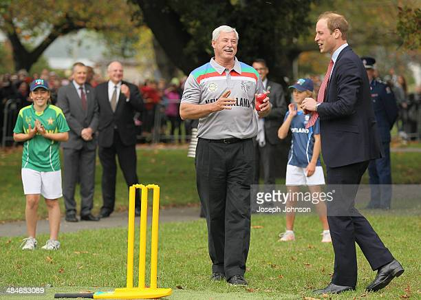 Sir Richard Hadlee ICC Cricket World Cup 2015 Ambassador reacts after Prince William Duke of Cambridge bowled to Catherine Duchess of Cambridge...