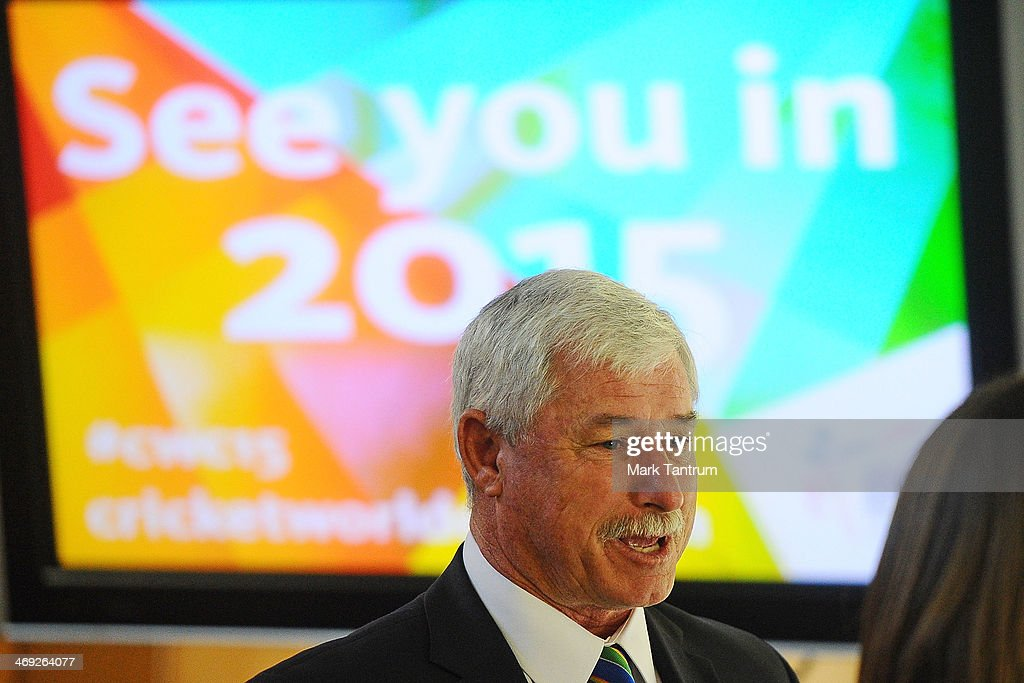 Sir Richard Hadlee is interviewed prior to the ICC Cricket World Cup 'One Year To Go' event on February 14, 2014 in Wellington, New Zealand.