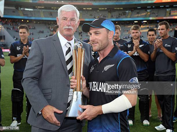 Sir Richard Hadlee presents New Zealand's Brendon McCullum with the ChappellHadlee Trophy after beating Australia during their 2015 Cricket World Cup...