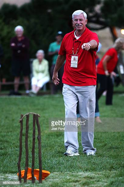 Sir Richard Hadlee questions the umpires decision during a backyard cricket match captained by Kiwi cricket greats Sir Richard Hadlee and Stephen...