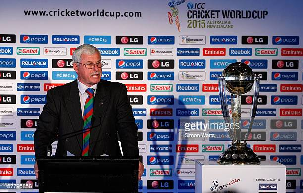 Sir Richard Hadlee speaks to media during the ICC Cricket World Cup 2015 Ticket pricing announcement at Eden Park on November 13 2013 in Auckland New...