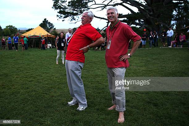 Sir Richard Hadlee stretches during a backyard cricket match captained by Kiwi cricket greats Sir Richard Hadlee and Stephen Fleming under the famed...