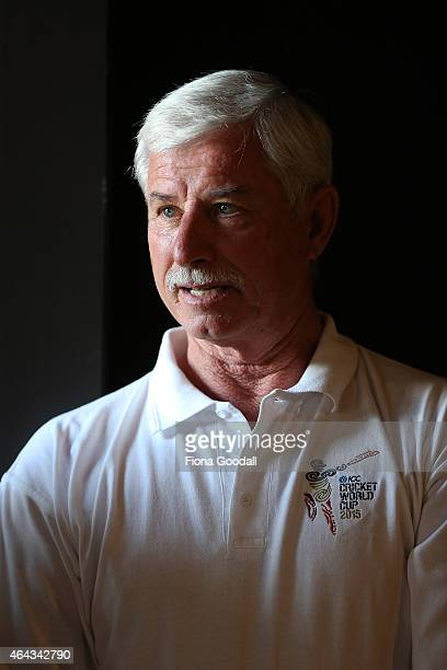 Sir Richard Hadlee waits to see the fans during the New Zealand Black Caps meet greet at Britomart on February 25 2015 in Auckland New Zealand
