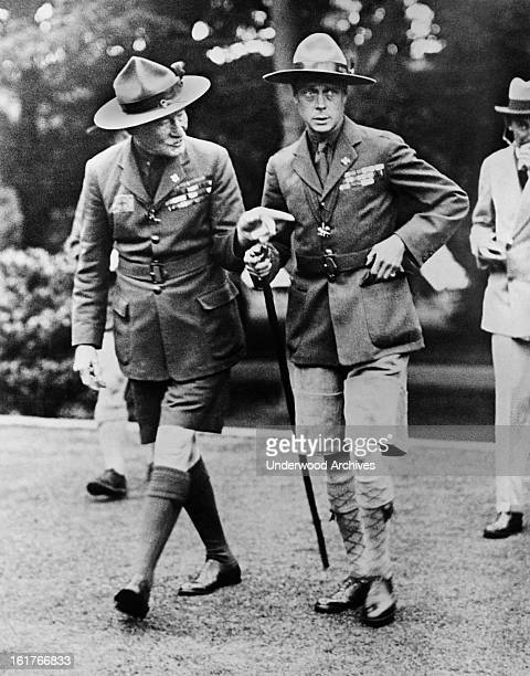 Sir Robert BadenPowell Chief Scout and founder of the Boy Scouts and the Prince of Wales who is the Chief Scout in Wales shown during the Prince's...