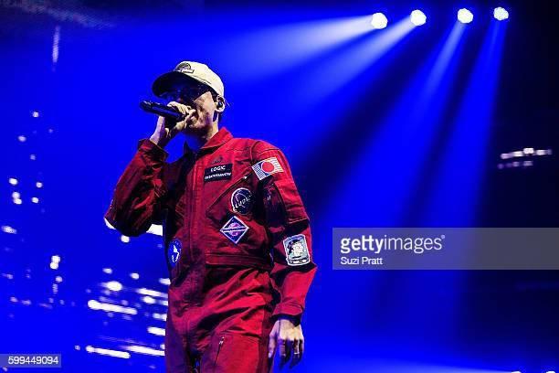 Sir Robert Bryan Hall II also known as Logic performs at Bumbershoot at Seattle Center on September 4 2016 in Seattle Washington