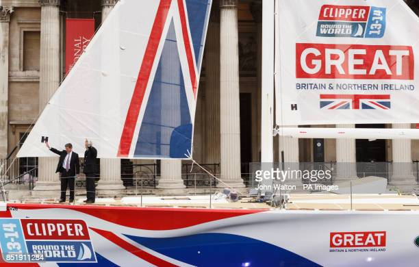 Sir Robin KnoxJohnston and Sport Minister Hugh Robertson christen the yacht called Great Britain in Trafalgar Square London PRESS ASSOCIATION Photo...
