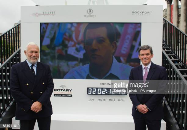 Sir Robin KnoxJohnston and Sports Minister Hugh Robertson at a launch event for the yacht 'Great Britain' in Trafalgar Square London PRESS...