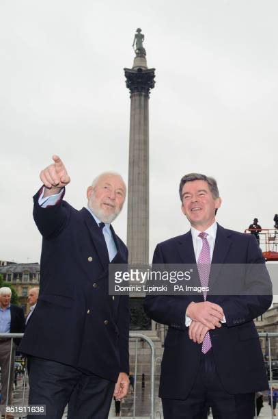 Sir Robin KnoxJohnston and Sports Minister Hugh Robertson at a launch event for the yacht 'Great Britain' in Trafalgar Square London