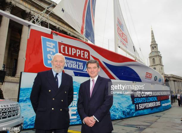 Sir Robin KnoxJohnston and Sports Minister Hugh Robertson with the yacht 'Great Britain' at a launch event in Trafalgar Square London
