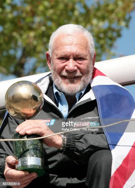 Sir Robin KnoxJohnston celebrates the anniversary of the first ever solo nonstop circumnavigation of the world near his boat Suhaili in St...