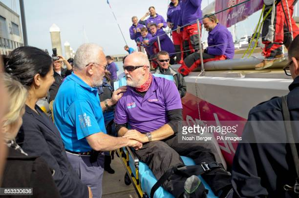 Sir Robin KnoxJohnston left founder of the Clipper Round the World Yacht Race greets British sailor Andrew Taylor as the Derry~Londonderry~Doire...