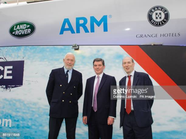 Sir Robin KnoxJohnston Sports Minister Hugh Robertson and Vice President of Public affairs at ARM Stephen Patttison at a launch event for the yacht...