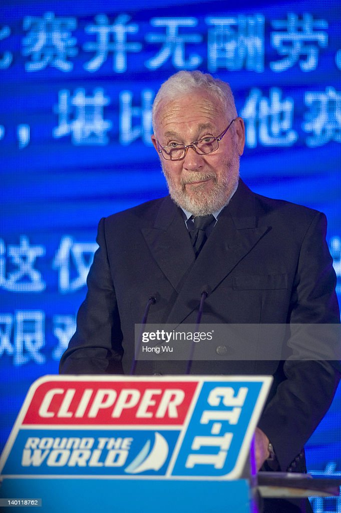 <a gi-track='captionPersonalityLinkClicked' href=/galleries/search?phrase=Sir+Robin+Knox-Johnston&family=editorial&specificpeople=2821245 ng-click='$event.stopPropagation()'>Sir Robin Knox-Johnston</a>, the founder of the Clipper Round The World Yacht Race and the chairman of Clipper Ventures PLC, makes a speech during the Official Award Ceremony for Leg 5(Race 8) of Clipper Round The World Race on February 28, 2012 in Qingdao, China.