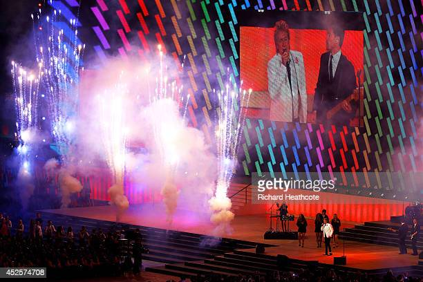 Sir Rod Stewart performs during the Opening Ceremony for the Glasgow 2014 Commonwealth Games at Celtic Park on July 23 2014 in Glasgow Scotland