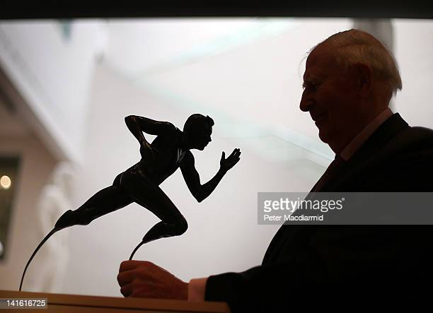 Sir Roger Bannister looks at John Buckley's 'Bladerunner' at the Sculpture and Sport A Celebration for 2012 exhibition at The Ashmolean Museum on...