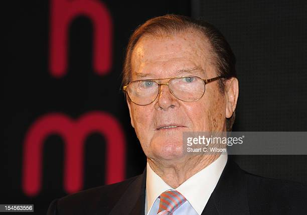 Sir Roger Moore meets fans and signs copies of his book 'Bond on Bond' at HMV Oxford Street on October 22 2012 in London England