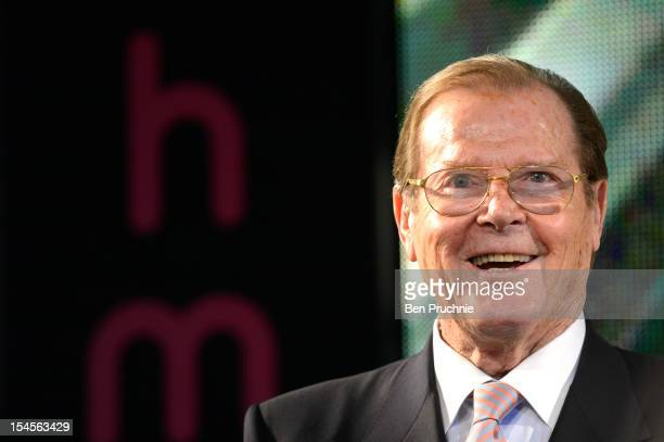 Sir Roger Moore signs copies of his book 'Bond on Bond' at HMV Oxford Street on October 22 2012 in London England