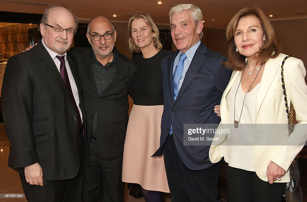 Sir Salman Rushdie Alan Yentob Philippa Walker Simon Reuben and Joyce Reuben attend the Mel Brooks BFI Fellowship Dinner at The May Fair Hotel on...