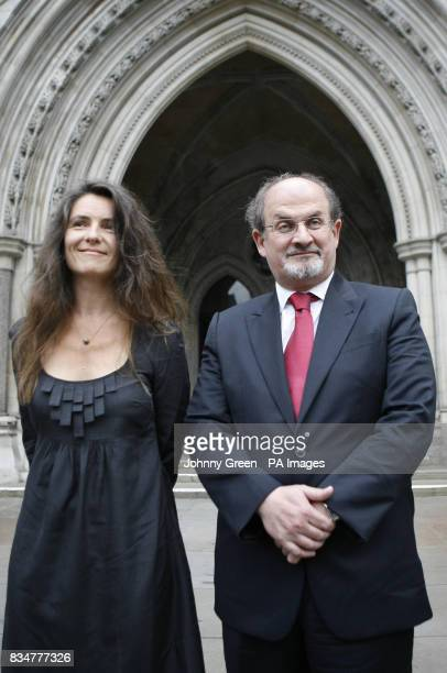 Sir Salman Rushdie and his former wife Elizabeth West arrive at the Royal Courts of Justice in central London