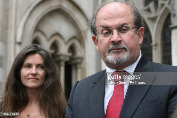 Sir Salman Rushdie and his former wife Elizabeth West speak to the press as they leave the Royal Courts of Justice in central London