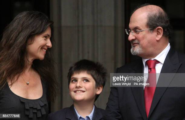 Sir Salman Rushdie his former wife Elizabeth West and their son Milan Rushdie leave the Royal Courts of Justice in central London