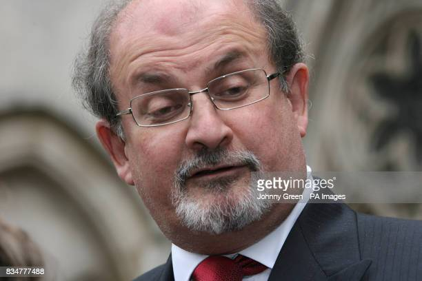 Sir Salman Rushdie speaks to the press as he leaves the Royal Courts of Justice in central London