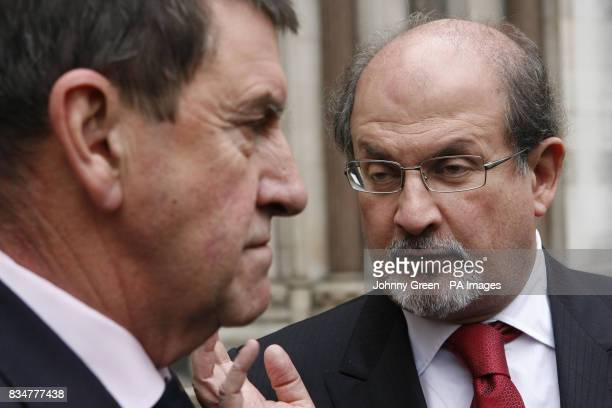 Sir Salman Rushdie talks to Police Protection Officer Frank Judge as they leave the Royal Courts of Justice in central London