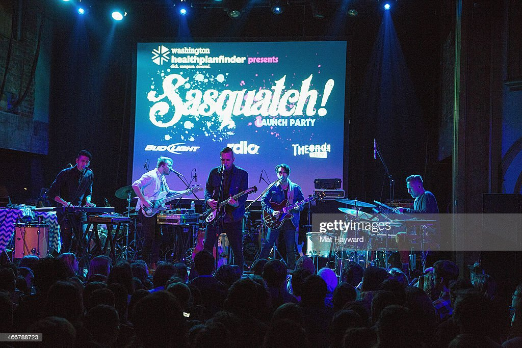 Sir Sly performs on stage during the Sasquatch launch party at Neptune Theatre on February 3, 2014 in Seattle, Washington.
