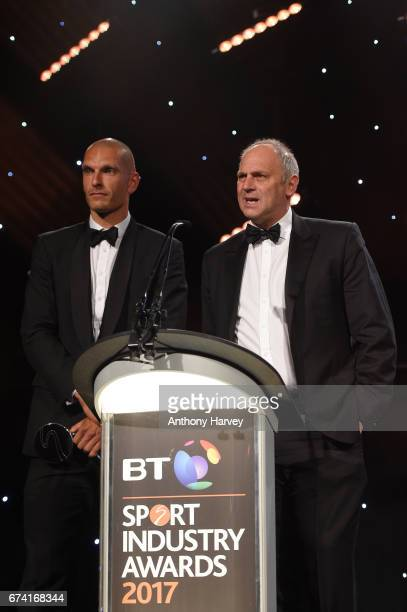 Sir Steve Redgrave and Mo Sbihi present the Coutts Lifetime Achievement award during the BT Sport Industry Awards 2017 at Battersea Evolution on...