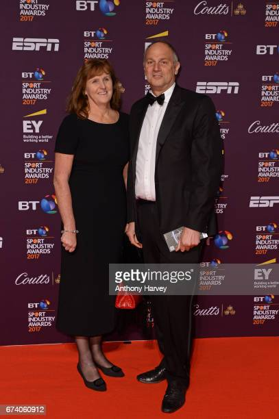 Sir Steve Redgrave and wife Ann pose on the red carpet during the BT Sport Industry Awards 2017 at Battersea Evolution on April 27 2017 in London...