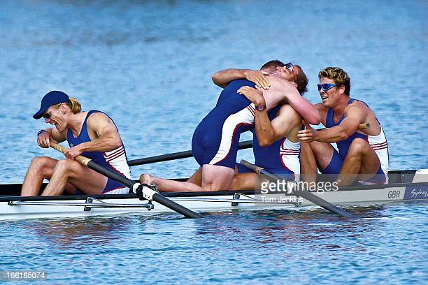 Sir Steve Redgrave is hugged by teammate Matthew Pinsent after the GB crew won the gold medal in the Olympic mens coxless four final at Penrith Lakes...