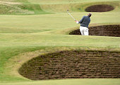 Sir Steven Redgrave plays of of the bunker on the fifth hole during the final round of the 2014 Alfred Dunhill Links Championship at The Old Course...