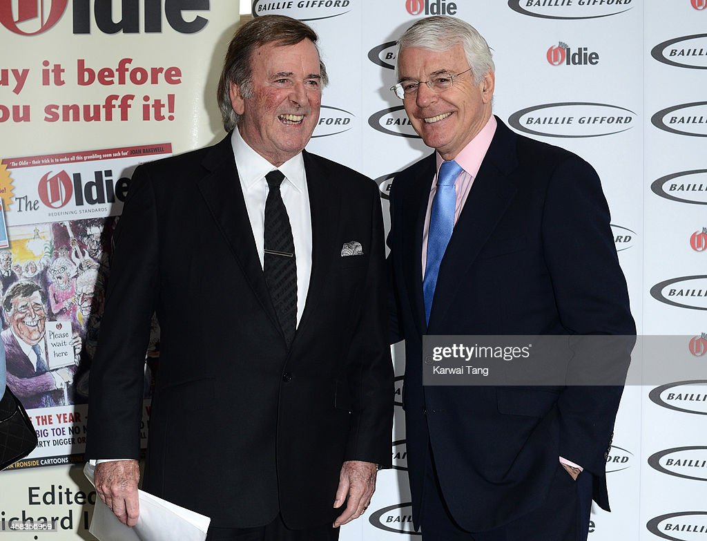 Sir <a gi-track='captionPersonalityLinkClicked' href=/galleries/search?phrase=Terry+Wogan&family=editorial&specificpeople=234787 ng-click='$event.stopPropagation()'>Terry Wogan</a> and Sir John Major attend the Oldie of the Year awards at Simpsons in the Strand on February 4, 2014 in London, England.