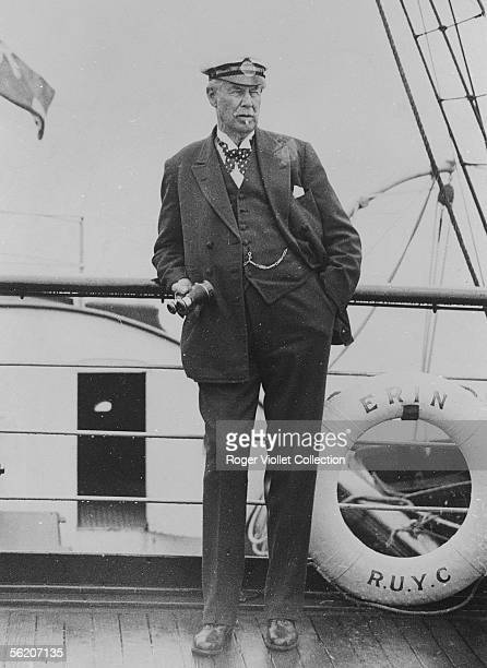 Sir Thomas Lipton British magnate of tea following from the deck of 'Erin' the testings of his yacht the 'Shamrock V' entered in the America's cup of...