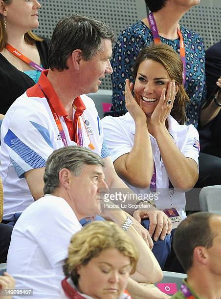 Sir Tim Lawrence and Catherine Duchess of Cambridge during Day 6 of the London 2012 Olympic Games at Velodrome on August 2 2012 in London England