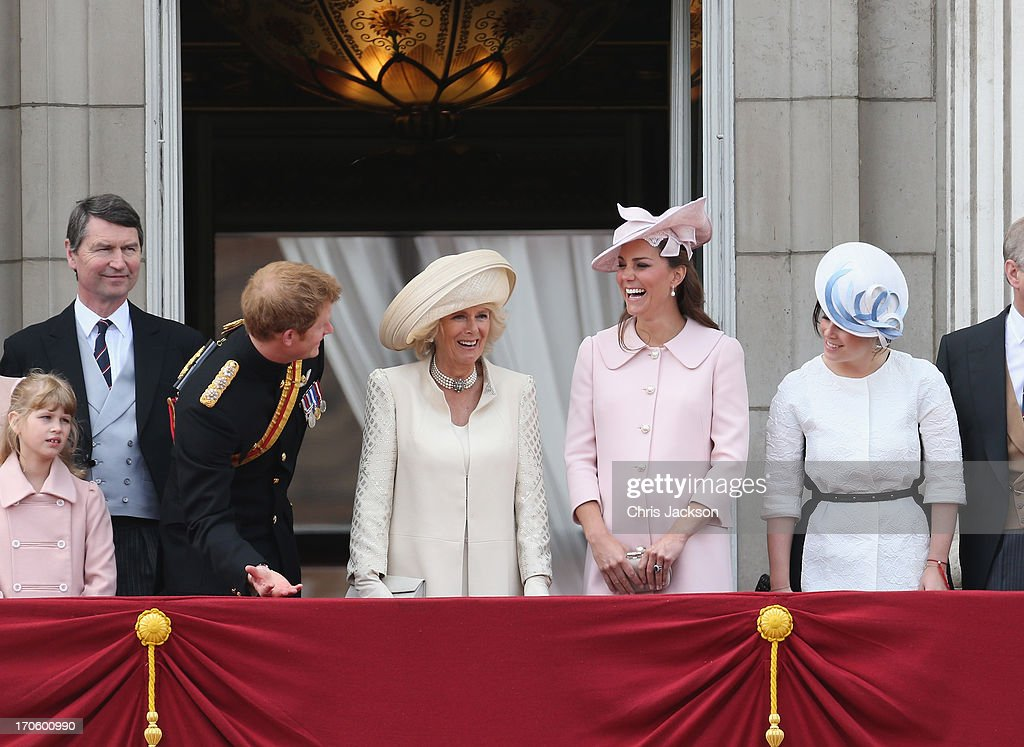 Sir Timothy Laurence and Lady Louise Windsor as Prince Harry jokes with Camilla Duchess of Cornwall Catherine Duchess of Cambridge and Princess...