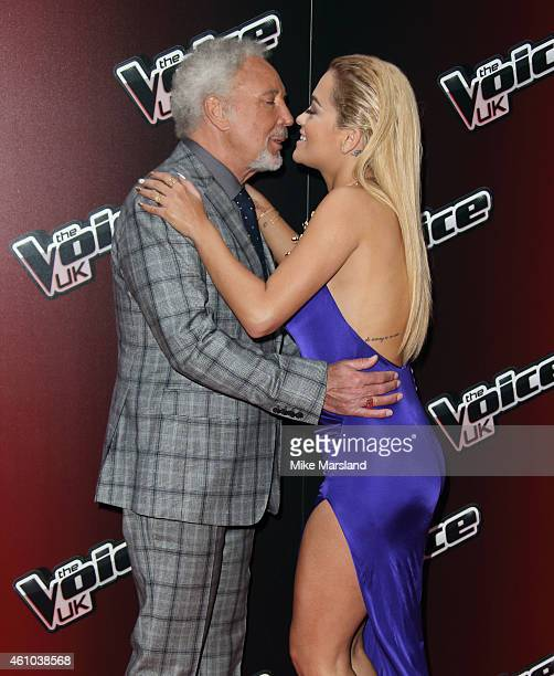 Sir Tom Jones and Rita Ora attend the launch of 'The Voice UK' Series 4 at The Mondrian Hotel on January 5 2015 in London England