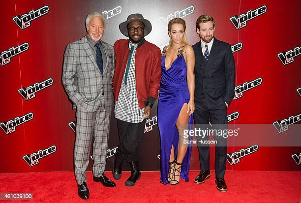 Sir Tom Jones William Rita Ora and Ricky Wilson attend the launch of 'The Voice UK' Series 4 at The Mondrian Hotel on January 5 2015 in London England