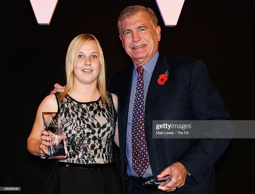 Sir <a gi-track='captionPersonalityLinkClicked' href=/galleries/search?phrase=Trevor+Brooking&family=editorial&specificpeople=539652 ng-click='$event.stopPropagation()'>Trevor Brooking</a> presents Bethany Mead of Sunderland WFC with the 'Top Goal Scorer FA Women's Premier League Northern' award during the FA Women's Awards 2012 at the Waldorf Hilton on November 2, 2012 in London, England.