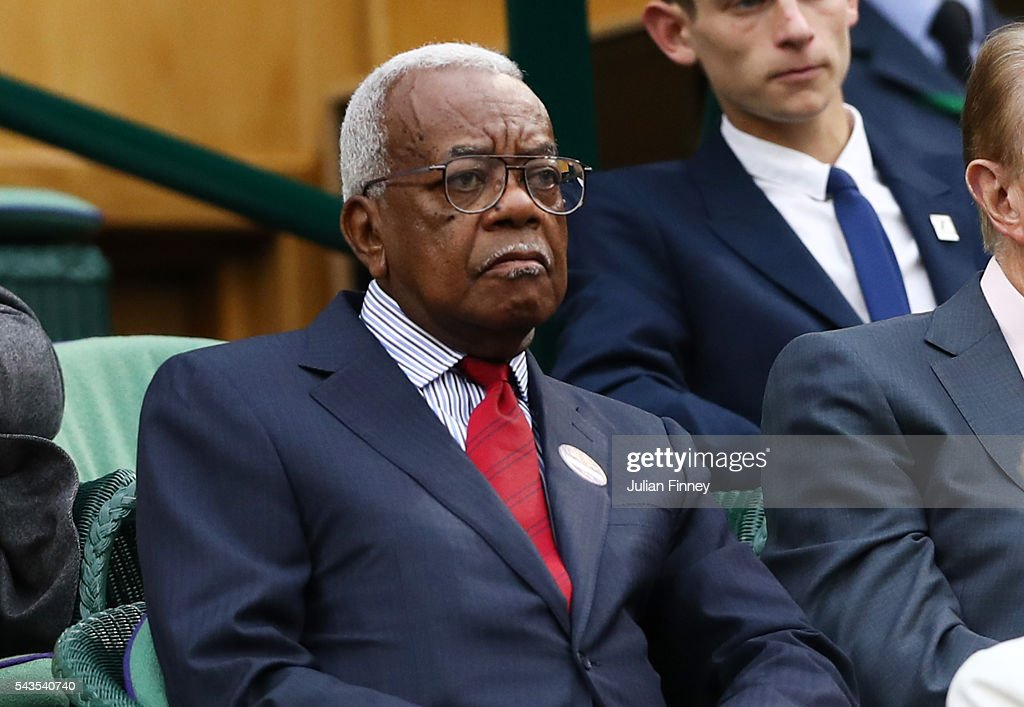 Sir Trevor McDonald looks on from centre court on day three of the Wimbledon Lawn Tennis Championships at the All England Lawn Tennis and Croquet Club on June 29, 2016 in London, England.