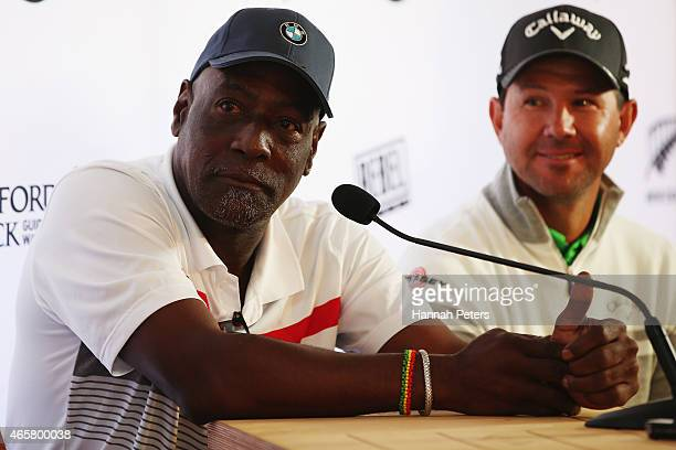 Sir Viv Richards and Ricky Ponting speak to the media during a press conference prior to playing in the New Zealand Open at The Hills on March 11...
