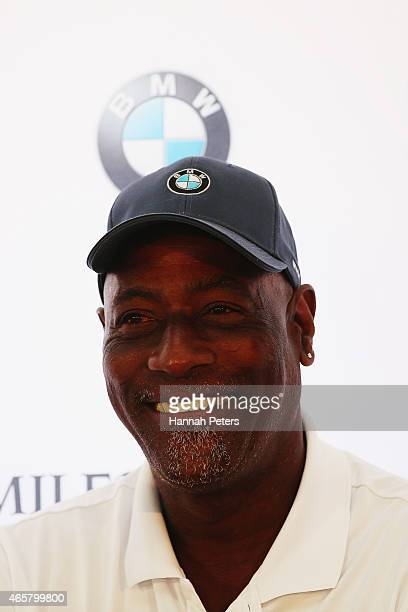 Sir Viv Richards speaks to the media during a press conference prior to playing in the New Zealand Open at The Hills on March 11 2015 in Queenstown...