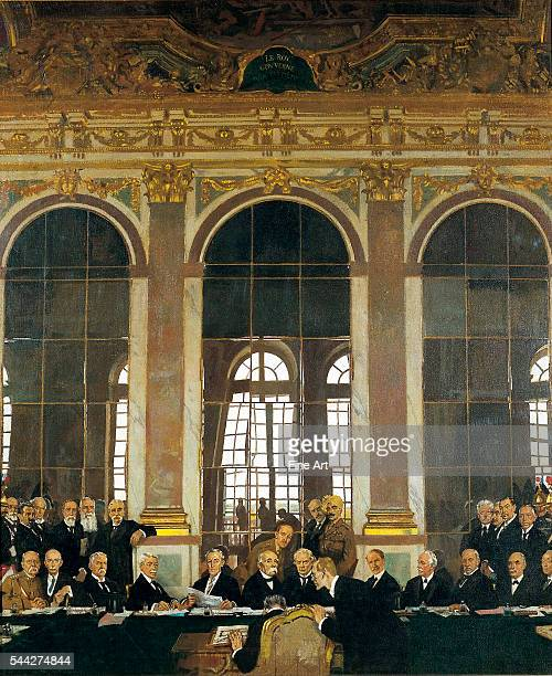 Sir William Orpen The Signing of Peace in the Hall of Mirrors Versailles 28th June 1919 oil on canvas 1524 x 127 cm Imperial War Museum London