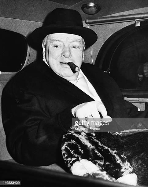 Sir Winston Churchill on the day of his 83rd birthday 1957