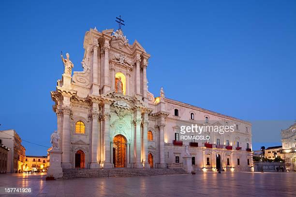 Siracusa Cattedrale di Ortygia facciata nel 1753, Sicilia, Italia