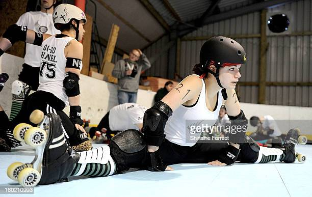 Sirenide of Manchester Roller Derby warms up for the first UK CoEd Roller Derby tournament hosted by the Nottingham Roller Girls at Midlands Roller...