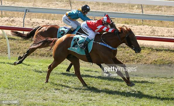 Sirfontein ridden by Brooke Sweeney wins the Homemade Café Beaufort BM58 Handicap at Ararat Racecourse on February 27 2017 in Ararat Australia